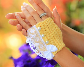 Fingerless Gloves - Lemon Yellow Wrist Warmers with Pearls and Lace - Romantic Victorian Style Accessories