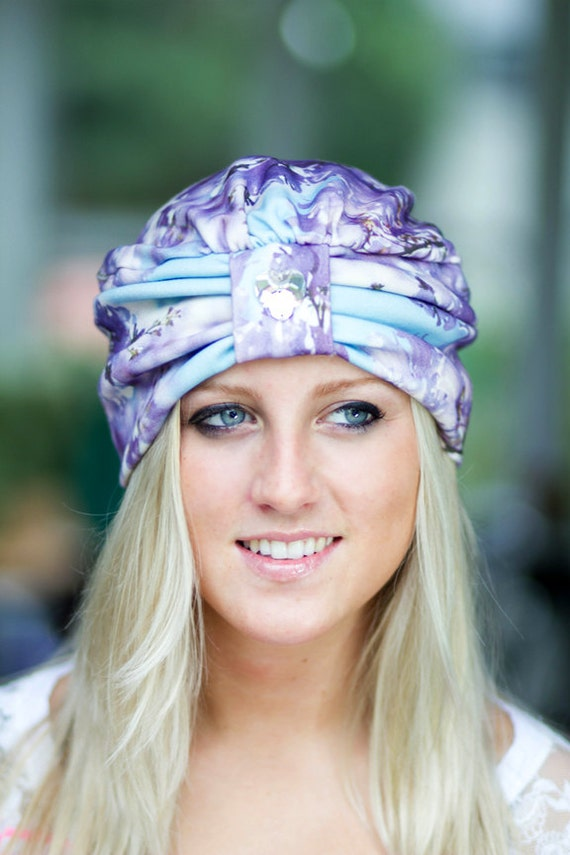 Wearable Art Turban - Lavender Aqua Floral - Organic Cotton - Jacaranda Tree