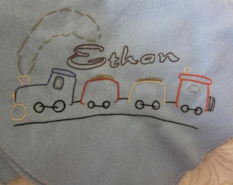 Personalized Hand embroidered Train baby blanket