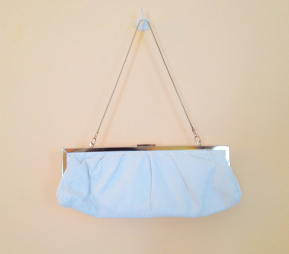 Vintage White Clutch. Small Purse. Silver Rim. Early 1990s. Wedding. Evening. Gray. White. Rectangle Clutch. Snake Chain Strap.