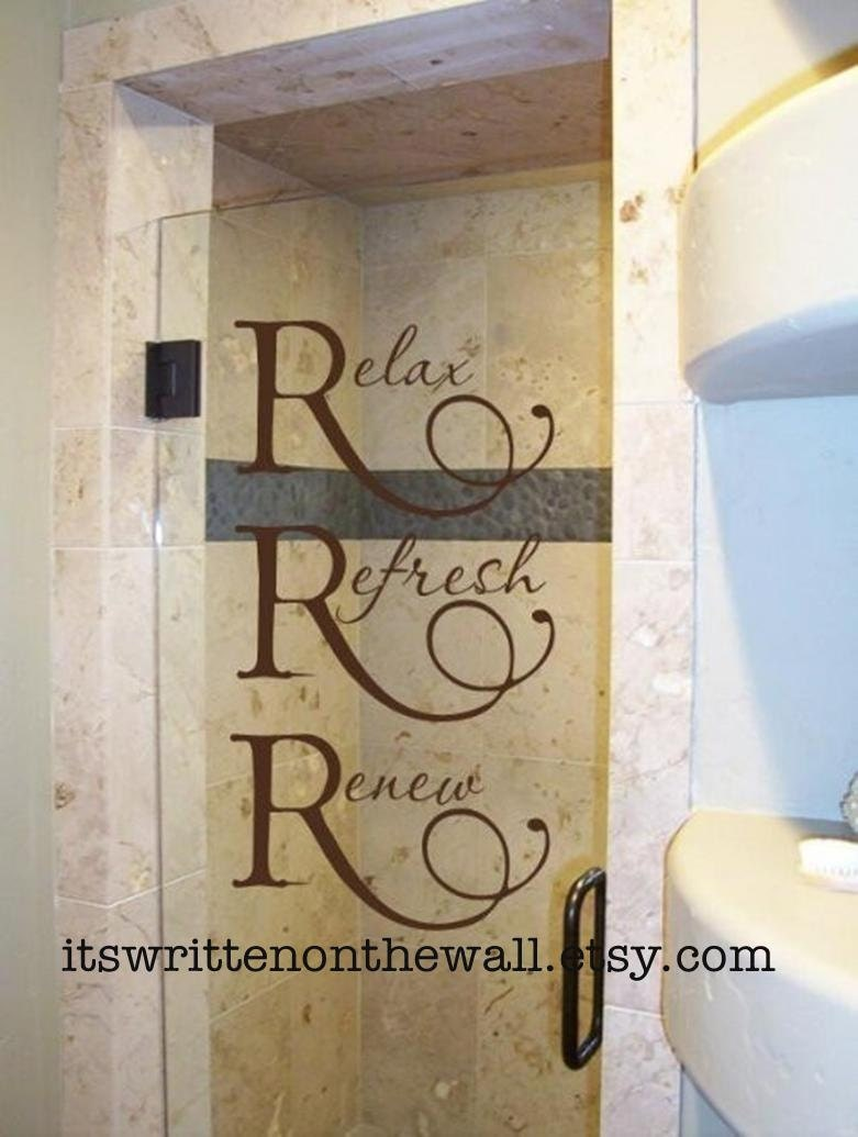 Relax refresh renew wall bathroom decor spa women 39 s for Bathroom decor etsy