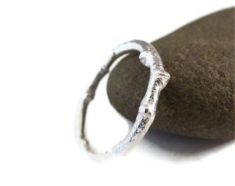 Rustic Twig Ring in Sterling Silver, Twig Band