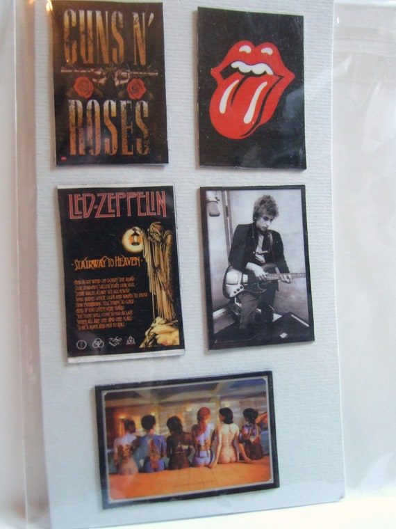 5 Classic Rock N Roll Set of Handmade Upcycled Mini Art Magnets for Office Home School Locker Gifts Free Shipping