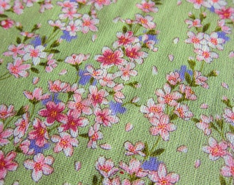 FREE SHIPPING Japanese Floral Fabric - Cherry Blossoms Fabric In Green  - Japanese Pattern (F016) - Fat Quarter