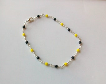 Black and Yellow Glass Bead Wire Wrapped Chain Link Anklet - Ankle Bracelet