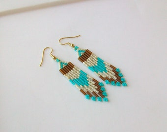 Natural, Turquoise and Root Beer Beaded Earrings