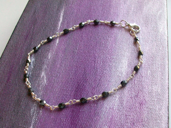 Metallic Hematite Czech Crystal Wire Wrapped Chain Link Anklet - Ankle Bracelet