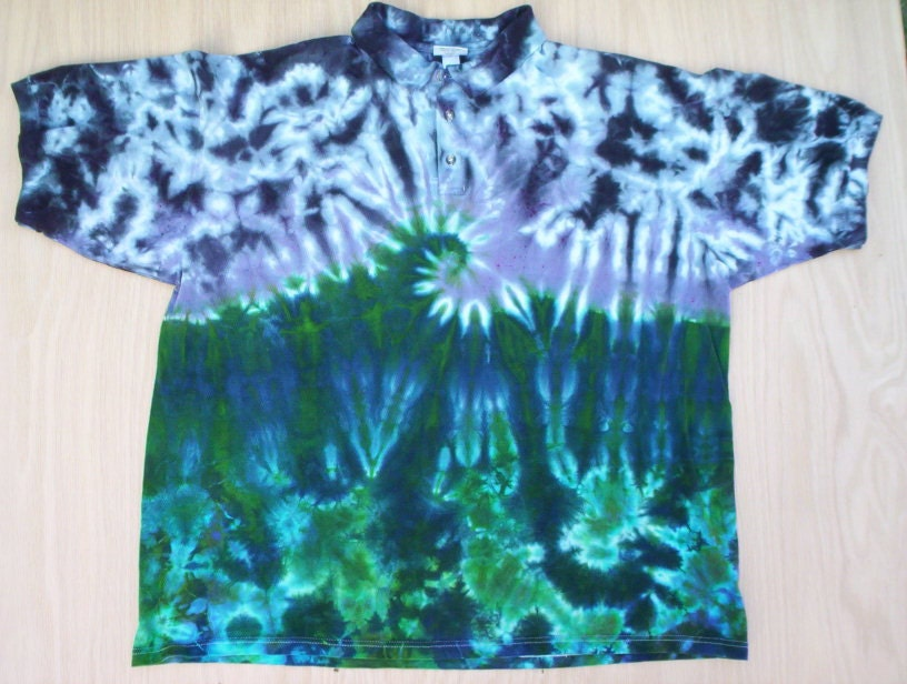wave tie dye polo shirt size 2x