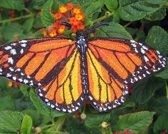 Epic  Life Sized Monarch Butterfly Danaus plexippus Iron on Patch