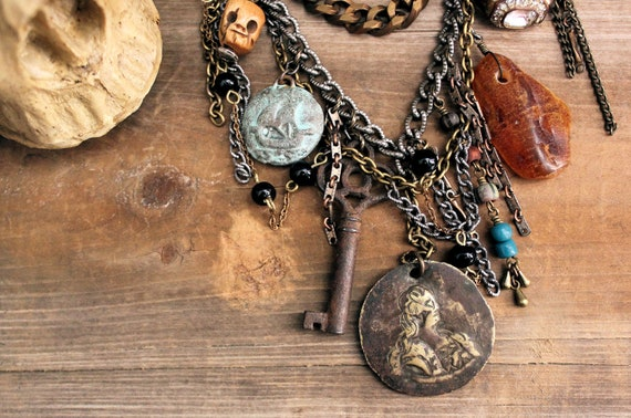 The Pirate Captain. Antique Trinket Collection Necklace.