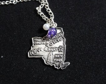 New York University Necklace, New York State Map Sterling Silver Charm, Purple & White beaded Pendant NYU Necklace,