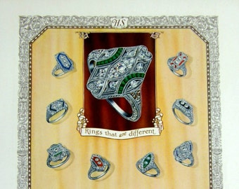 Retro Bling, Color Engraving Print: 1927 Vintage Ad of Art Deco Rings, Dripping in Diamonds