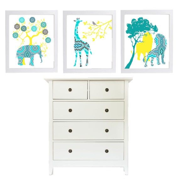 Trendy Modern Nursery Art Set in Turquoise Yellow Quilted Aztec  3 - 8 x 10 Unframed Prints