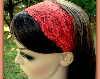 Cinnamon Headband Cinnamon Spice Brick Red Headband Fall Red Stretch Lace Headband Lace Head band Adult Women Toddler Children Baby