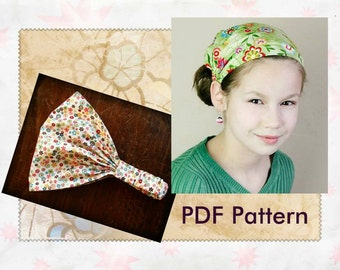 CHILDRENS Fabric Headband Pattern for Children Wide Headband Wide Hair Band Tutorial Head wrap Hair scarf Childrens Bandana Girls