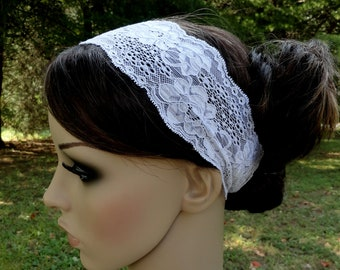 White Headband - White Stretchy Lace Headband Wedding Head bands- Wide Hair Wrap Women's or Girl's Bridesmaid Hair Accessory