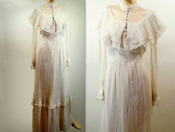 Vintage Wedding Dress 1970s Boho Maxi White Gauze Dress S