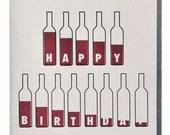 Bottle of Wine Birthday Card Wine Lovers Letterpress