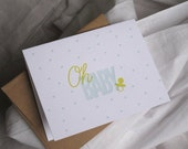 4 pack: Letterpress Greeting Cards, Oh, Baby