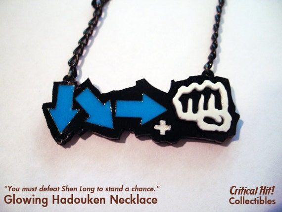 Glowing Hadouken Necklace - video game jewelry geek pendant combo street fighter tekken dead or alive