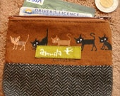 Zipper Coin Pouch with Brown Lovely Cats Print Fabric