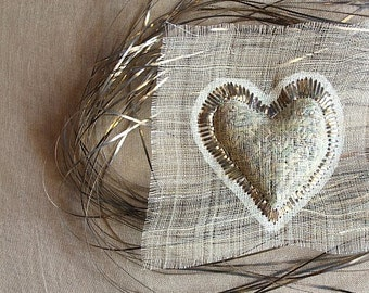 heart in lavender scent brooch in silver wire embroidery / Valentine's Day /  wearable art