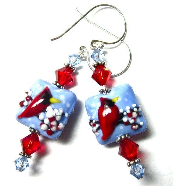 Red Cardinal Earrings, Lampwork Earrings, Artisan Earrings, Beaded Earrings Red Bird Earrings, Blue Earrings, Winter Earrings