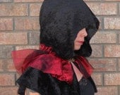 Black Crushed Velvet and Red Organza Hooded Shoulder Capelet, Short Cape- Gothic, Vampire, Witch, Halloween - Ready To Ship