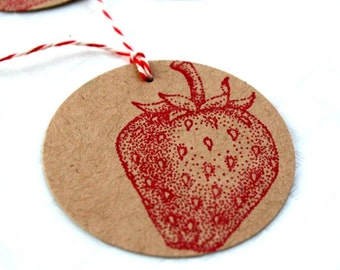 Strawberry Vintage Gift Tag Set of 10 - Food Label - Canning Label - Baking Label