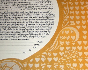 Gold and Opal-Iridescent Papercut Hearts Ketubah - Love - calligraphy