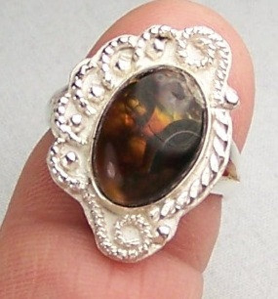 Mexican Fire Agate Sterling Silver Ring Size 7  Free US Shipping