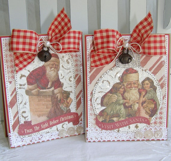 Reduced Christmas Decorations: SALE REDUCED PRICE Shabby Chic Vintage Style Santa Christmas