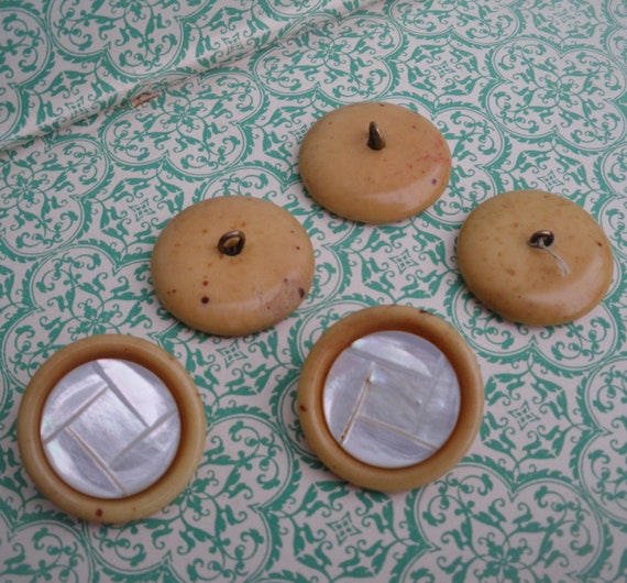 Vintage Buttons Mother of Pearl and Yellow / Brown Bakelite 1920s 1930s 20s 30s - antique shank buttons carved MOP - set of 5