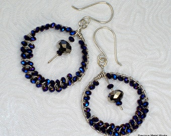 Midnight Indiglo, handmade, sterling silver wire and Chinese, indigo crystal, beaded hoop, earrings