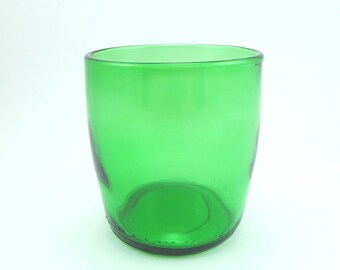 YAVA Glass -Recycled Small Tapered Green Glass (8 oz / 3 in) Made from a Perrier Mineral Water Bottle