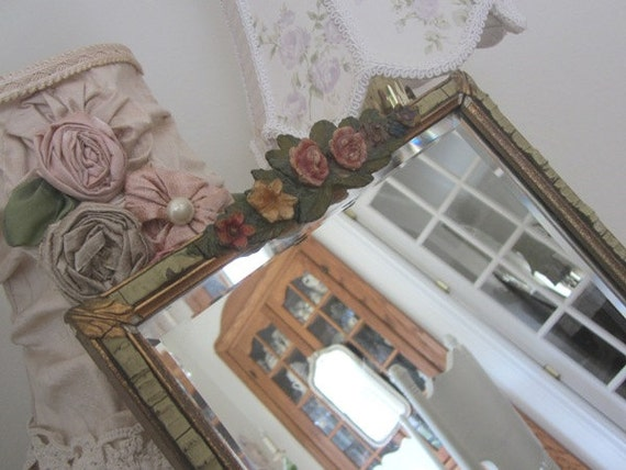 RESERVED - Antique Barbola Mirror - Vintage Roses and Ribbons - Beveled - Shabby French Cottage