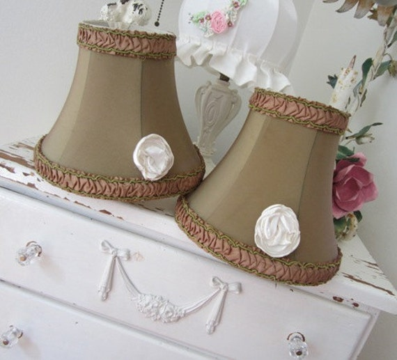 RESERVED ATALANTAJONES - Pair of Vintage Lamp Shades - Ruched - Silk Trim - French Country Cottage