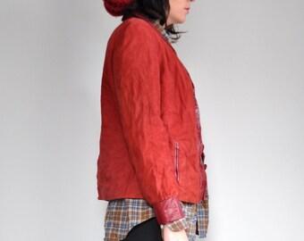 vintage RED LEATHER jacket maroon jacket suede (small medium)