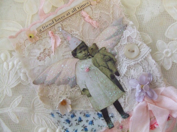 Mixed Media Art Collage Vintage Lace Collage Wall Hanging  Shabby Rose Decor