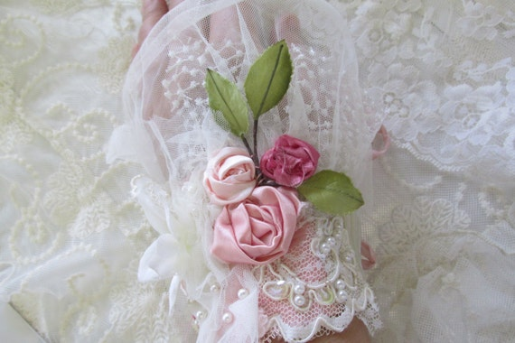 Ivory Bridal Lace Cuff Shabby Dress Lace Hand Beaded Cuff Piece Rose Cuff Marie Antoinette Inspired Boho Chic Bohemian Accessories