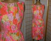 VTG 60s Neon Floral  Mod Dress Size Medium