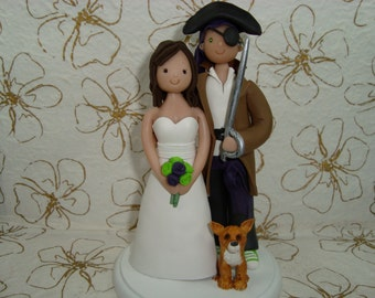 Customized Pirate Wedding Cake Topper