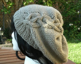 Knit Hat, Hand Knit Hat, The Cableret in Taupe, Slouchy Hat, Womens Hat, Winter Hat, Slouchy Knit , Brown Hat, Cable Hat, Brown Slouchy,