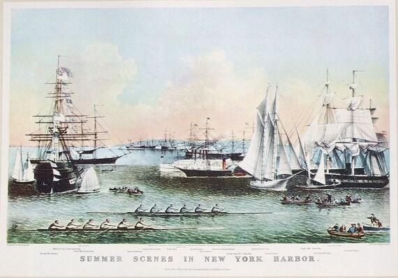 Vintage Ship Print- nautical print, nautical art, nautical decor, ship decor, Summer Scenes in New York Harbor, Currier & Ives illustration