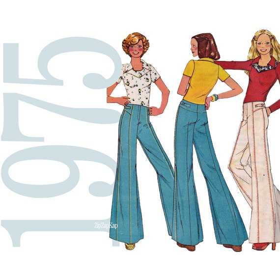 70s Bell Bottom Pants Vintage Pattern - 26 Waist - McCalls 4551