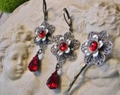 Ruby Rose Silver Earring SET, Vintage Glass, Industrial Gothic Style, Mixed Metals