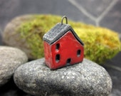 Red...Saggar Fired Rustic House Pendant / Ornament