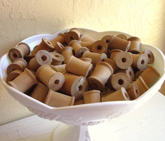 Vintage Wood Thread Spools 12 Empty Wooden Spools for Crafting Dozen - Last Set