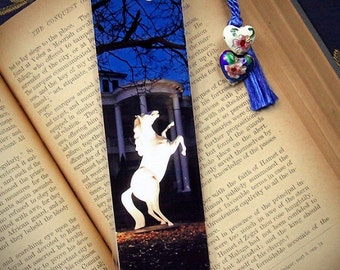 White Stallion Horse Full Moon & Mansion Gothic Night Laminated Photo Bookmark Cloisonne Heart Beads