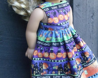 18 inch Doll Clothes - Ghouly Stripes - HALLOWEEN - Purple Orange Green - Spooky Fun - fits American Girl